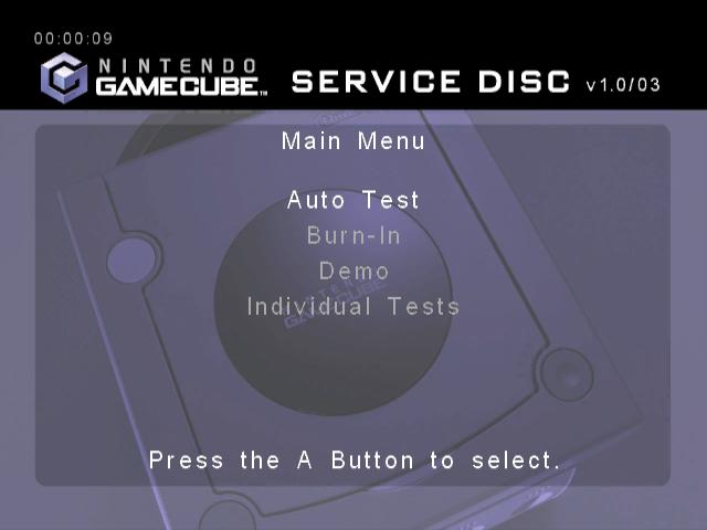 Rom juego Nintendo GameCube Service Disc Version 1.0 03